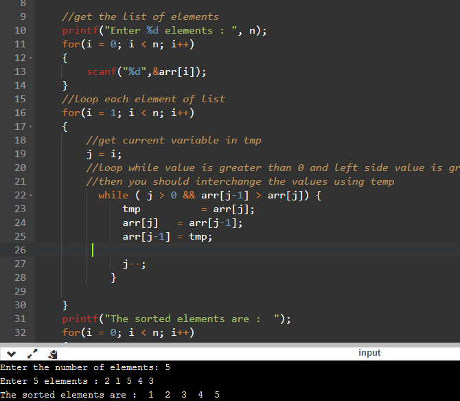 c program for insertion sorting in c with explanation qa with