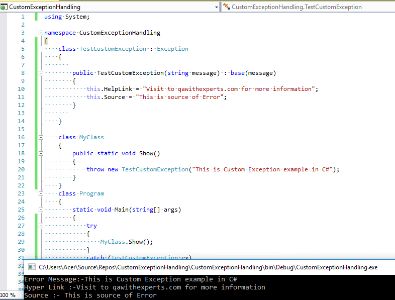 Creating C# Custom Exception (With Console application example)