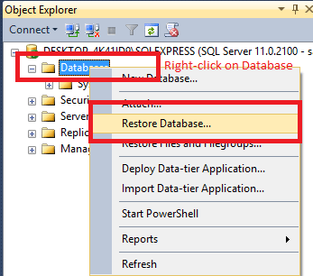 Restore (Import) database from .bak file in SQL server (With & without scripts)
