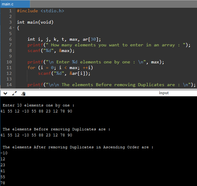 Program to remove duplicates from array in C