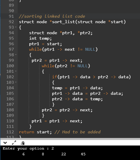 Sorting linked list program in C
