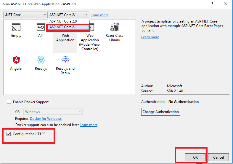 ASP NET - Cannot find the check box for enabling SSL in visual