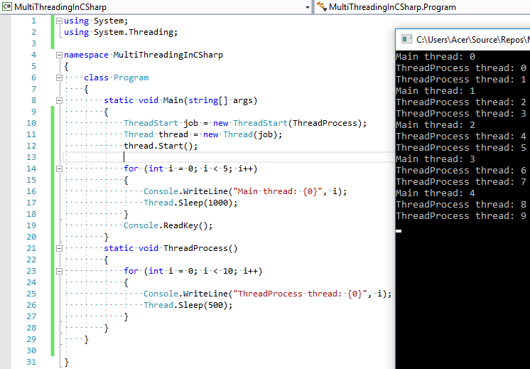 Multithreading in C# (With example)