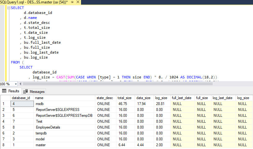 Check database size in Sql server ( Various Ways explained)