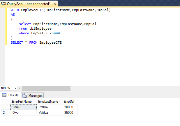 Common Table Expressions (CTE) in Sql server