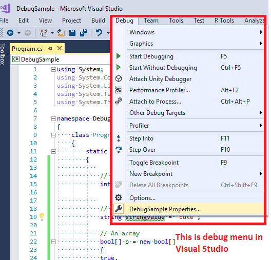 How to debug in visual studio? ( Tutorial to debug C# code )