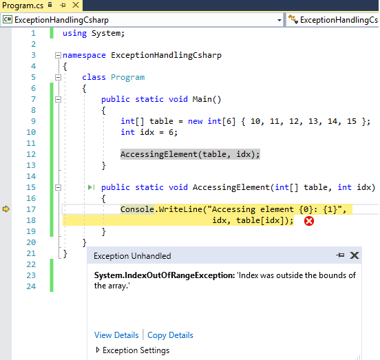 Exception handling in C# (With try-catch-finally block details)