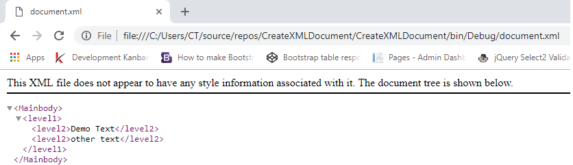 Create XML document using C# (Console Application example)