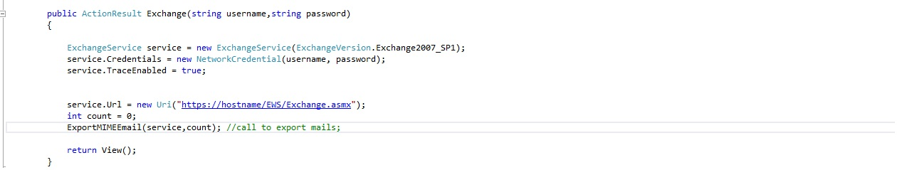 Transfer e-mails from one exchange server to another using EWS Api in C# .NET